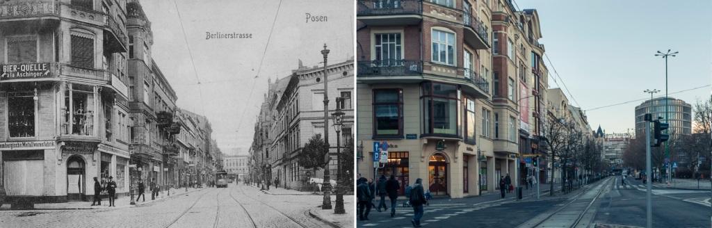 Po prawej Prezydium Policji, jeden z pierwszych budynków na ulicy