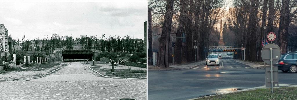 Niepodległości aleja, most kolejowy. Cytadela 1945