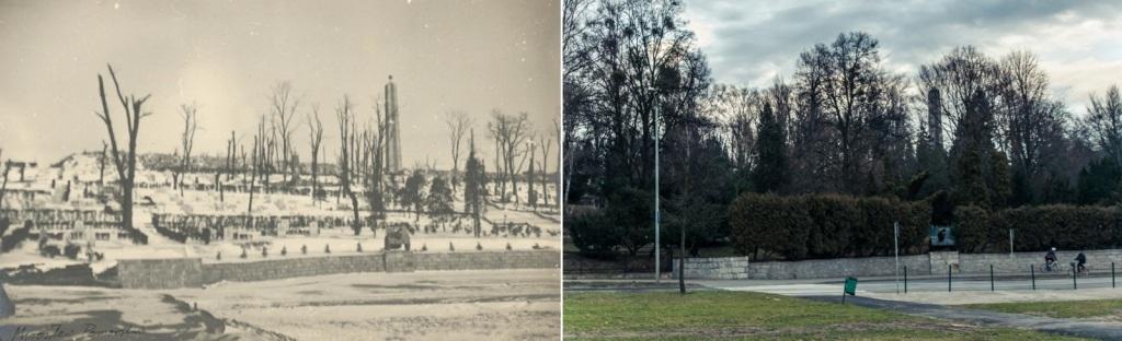 Fotografia Mirosława Pomorskiego z 9 grudnia 1945 roku przedstawiająca cmentarza na stokach Cytadeli oraz jej przedpole