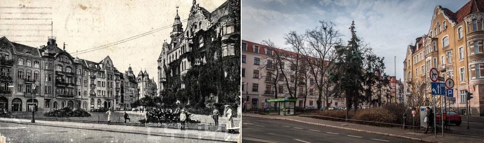 Matejki Wyspiańskiego Hardenberg-Platz (obecnie plac Wyspiańskiego przy zbiegu ulic Wyspiańskiego i Matejki) na początku XX wieku Kolekcja pocztówek Romana Trojanowicza